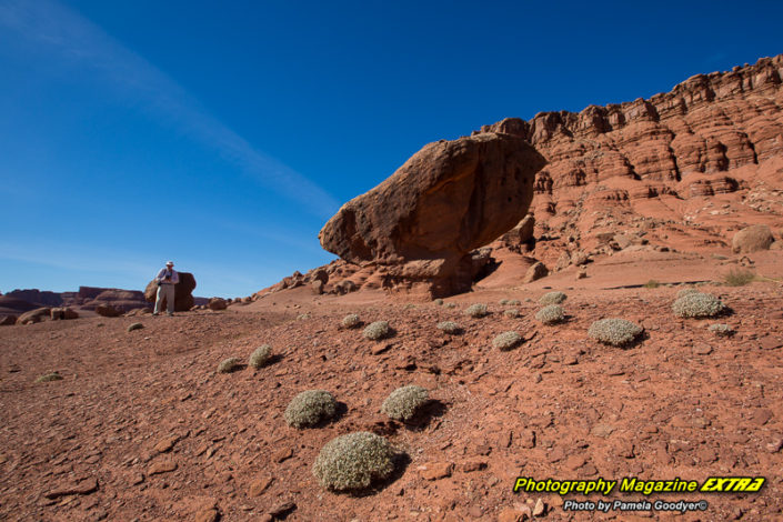 Lee's Ferry Arizona blance rock under blue skies with a photographer on a photo tour.