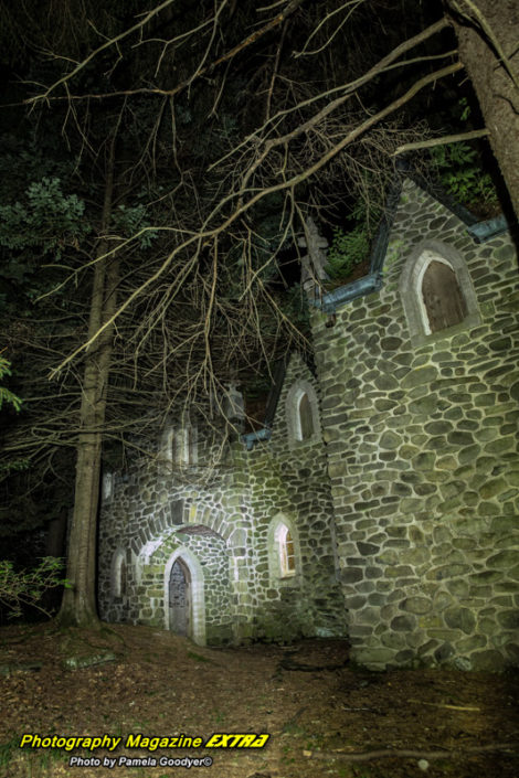 castle ghost hunt showing a large castle in the dark