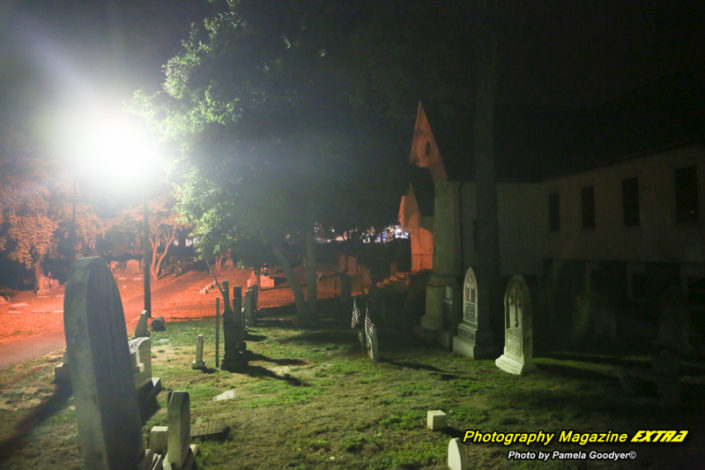 Spotswood New Jersey Graveyard lights and tombstonew while ghost hunting showing entities, paranormal activity and orbs