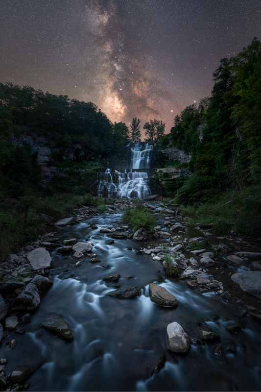 Michael Ver Sprill Milky Way on waterfall in the mountains of the dark skies