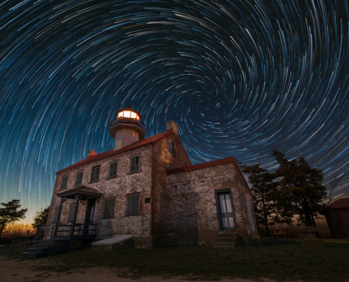 Night Photography, Milky Way Photography, Mike Ver Spill LIghthouse with star trials spiral