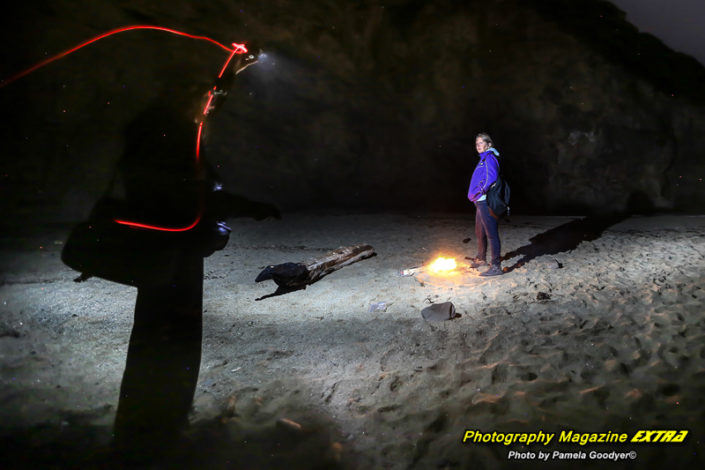 Shark Fin Cove, World Renowned Photographer Pamela Goodyer with light trails whilst creating art
