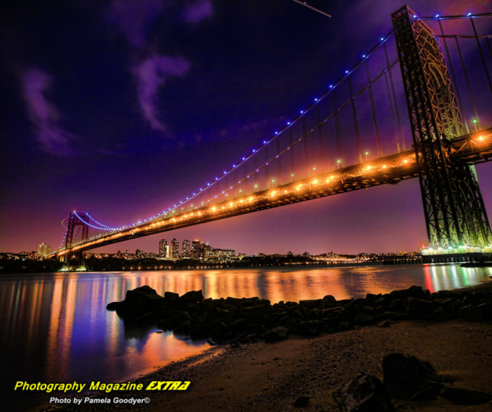 George Washington Bridge, New Jersey night time lights and clouds with reflecting waters