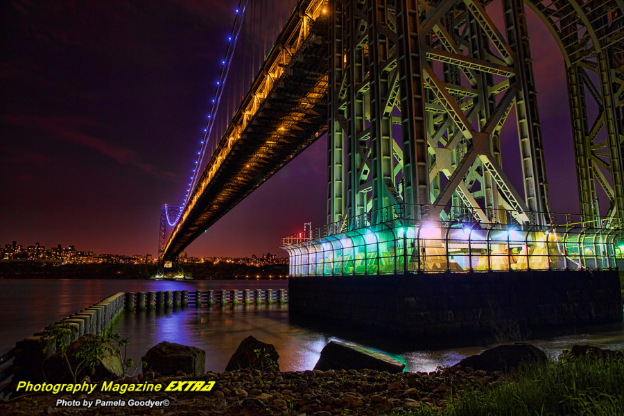 George Washington Bridge, New Jersey, very colorful section of the bridge with security fences up with milky long exposure waters at night