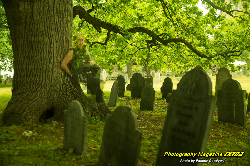 OL Pam Goodyer world famous photographer and medium appearing as a ghost next to a tree in long exposure photography