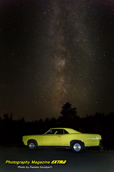 Rocky-Mountain-National-Park-Milky Way with a bright yellow classic car under the milky way and dark sky galaxy