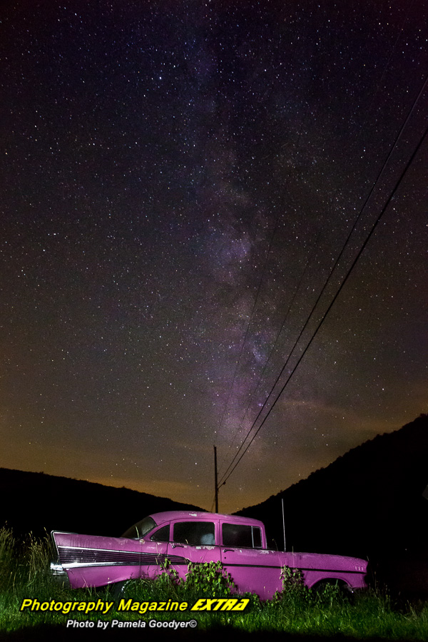 Catskill N.Y. Milky Way Photography. night photography showing a 1957 pink cadillac under the milkway