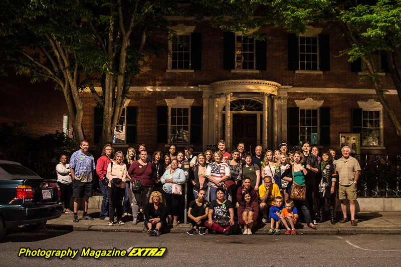 OL A very large group photo in Salem Mass. streets after the ghost tour
