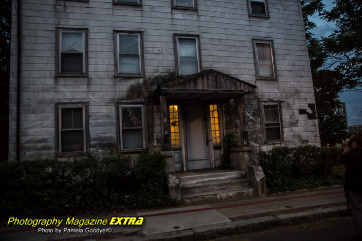 OL old building at night while ghost hunting in salem massachusettes
