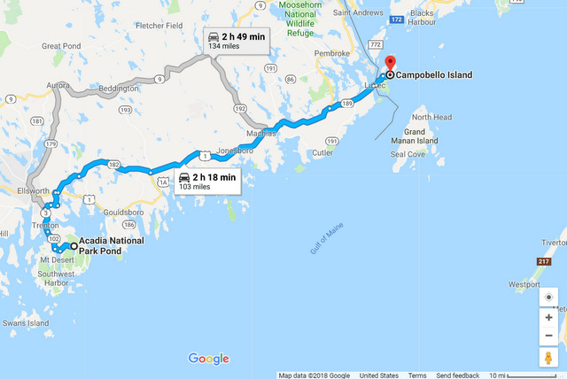 Acadia to Campobello map