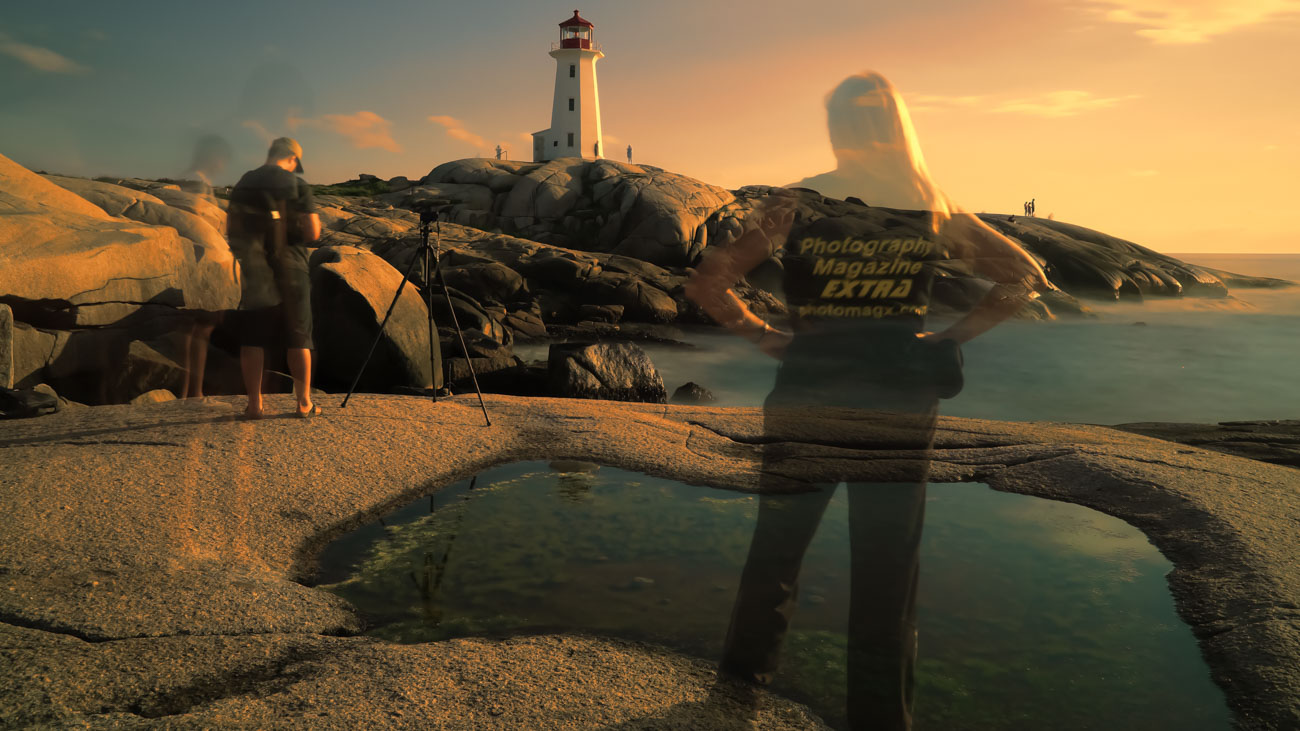 Peggy's Cove at sunset, Nova Scotia, Canada, long exposure photography, Pamela Goodyer