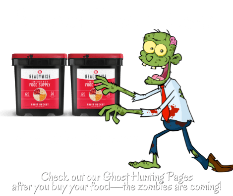 survivel food ghost hunt with white letters